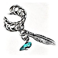 Tribal Handcrafted Ear Cuff with Silver Feather and Stone Charm-earlum Non Pierced