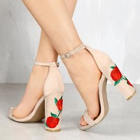 Summer Sandalias Chunky High Heels Pumps Shoes Woman Elegant Rose Embroider Wedding An