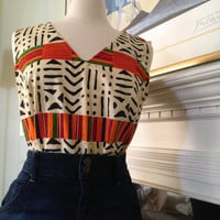 Kente  and Mud Print  Tank  top Blouse for Women