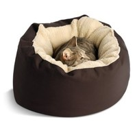 Dog Gone Round Smart Cat Bed with Sherpa Ecru Piping, Brown