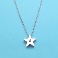 Personalized, Initial, silver, Star, Necklace