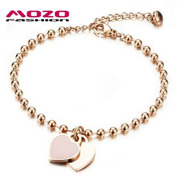 MOZO FASHION Woman Party Jewelry Double Heart Pendant Rose Gold Color Stainless Steel Bracelet Bead Chain Women Bracelet MGS807