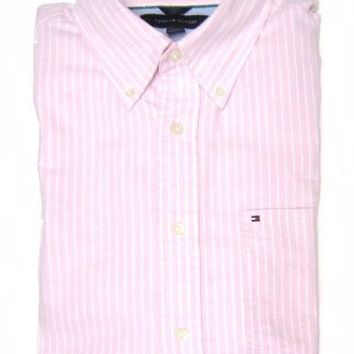 Tommy Hilfiger Men's Button-down Dress Shirt in Light Pink with White Stripes