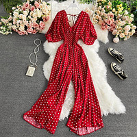 Summer Women Sexy Polka Dot Jumpsuits Romper Thin Ladies Loose Wide Leg Pants Overalls Playsuits Jumpsuits Casual 2021
