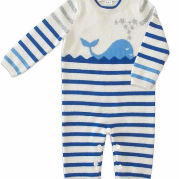 Infant Boy's Striped Coverall 100% Cashmere Blue