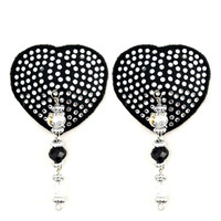 Bijoux De Nip Heart Black Crystal Pasties
