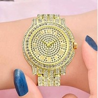 New fashion more diamond couple business casual watch wristwatch Golden