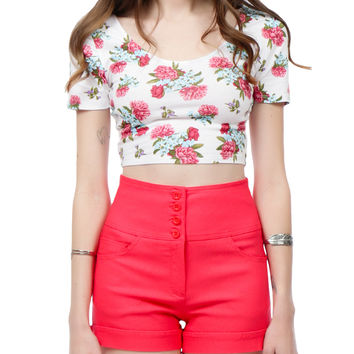 LE3NO Womens Fitted Short Sleeve Floral Print Crop Top with Stretch (CLEARANCE)