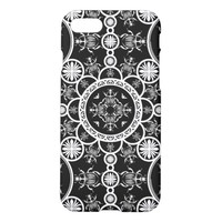 Scarab tile line pattern with black Background iPhone 7 Case