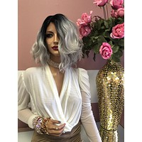 "Silver Gray Waves Short Lace Front Wig 8"" 0219"