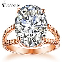 Tocean Rose Gold Color Handsome Wedding Rings for Women Round Cut AAA Zircon Cute Engagement Fashion Bijoux Bague Size 5-12 W019