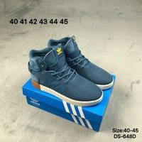 Adidas TUBULAR INVADER 750 High-Top Fashion Men Women Casual Skate Shoes Blue/Red 2 Colors