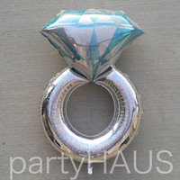 """38"""" Silver Holographic Diamond Ring Balloon Huge Bachelorette Pewter Party Helium Air Foil Wedding Bridal Engagement Party Shower Jumbo"""