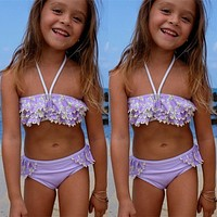 Floral Kids Baby Girl Bikini Suit Swimsuit Swimwear Bathing Swimming Costume Tassels Ruffle Striped Kids Two-pieces Bathing Suit