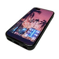 For Apple iPhone 5C 5 C Case Cover Skin Hipster Miami Beach City Life Quotes Teen DESIGN BLACK RUBBER SILICONE Teen Gift Vintage Hipster Fashion Design Art Print Cell Phone Accessories