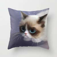 little grumpy things Throw Pillow by Rihards Donskis