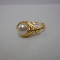 Gold Tone Wire Wrapped Faux Ivory pearl Ring, pearl ring, wire wrapped ring, ring