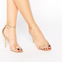 Glamorous Gold Patent Two Part Heeled Sandals