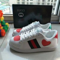 """GUCCI"" Women Personality Casual Multicolor Heart-shaped Small White Shoes Plate Shoes Sneakers G"