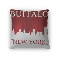 Throw Pillow, Buffalo New York City Skyline Silhouette Red