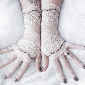 Fated Lace Gloves Fingerless | Off White Pale Ivory Floral Black | Bridal Woodland Wedding Romantic Austen Arm Warmer Bellydance Gothic Goth