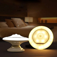 Night Light with Motion Sensor UFO 360° Rotating LED Light Step Lamp with Detachable Magnetic Holder