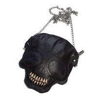 Leather purses skull clutch leather bag skull bag horror rock women clutc skeleton purse bag