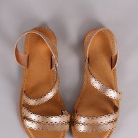 Bamboo Metallic Strappy Scalloped Open Toe Flat Sandal