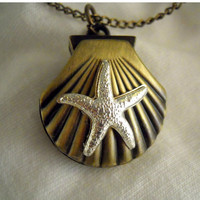 Seashell Watch with a Silver Plated Starfish - COUPON CODE Christmas to get 20% off entire shop till the end of the month