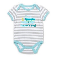 "Baby Gear ""Happy 1st Mother's Day"" Crocodiles Bodysuit in Turquoise"