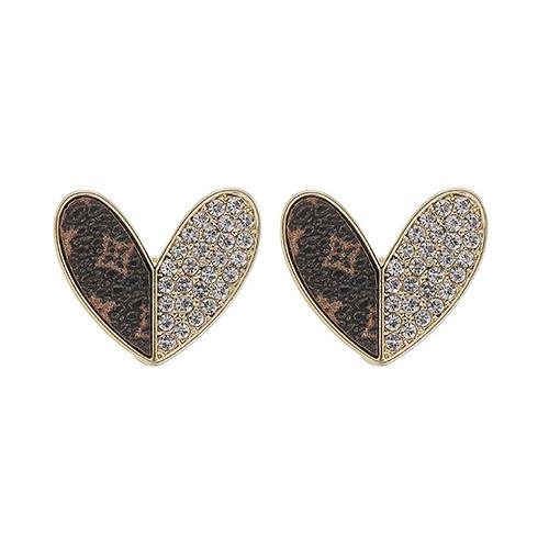 Image of Up-Cycled LV & Swarovski Heart Earrings