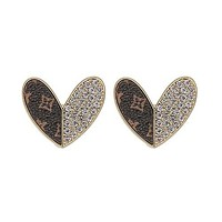 Up-Cycled LV & Swarovski Heart Earrings