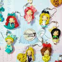Disney Princess Collection, Disney Princess Jewelry, Kawaii Polymer Clay Earrings, Disney Princess Earrings