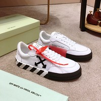 OF OFF-WHITE OFF WHITE Men's Leather Fashion Low Top Sneakers Shoes