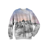 The Soul That Sees Beauty (Winter Moon / Wolf Spirit) Unisex Sweatshirt created by soaringanchordesigns   Print All Over Me