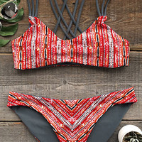 Cupshe Heated Love in Desert Cross Back Bikini Set