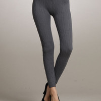 Knit Sweater Leggings [Black,Charcoal,Turquoise]