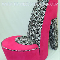 PINK & ZEBRA HIGH HEEL SHOE CHAIR FURNITURE GIRL GIFT (PZ HHSC)