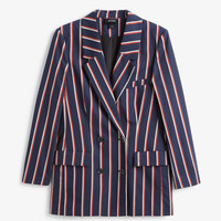 Double-breasted blazer - Navy stripes - Coats & Jackets - Monki GB