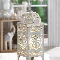 Small White Metal Scrollwork Electric Table Lantern