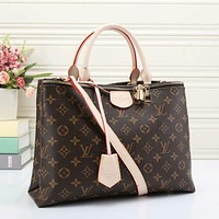LV Louis Vuitton Hot Selling Retro Men's and Women's Crossbody Bags with Full Letters Coffee lv print