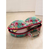 Floral Pattern Bra Zipper Storage Box