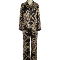In Bloom Damask Print Pajama Set