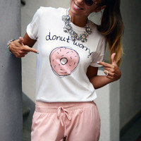 Donut Worry Funny Short Sleeve White Tee [11735867343]