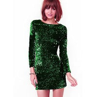 Autumn Winter Sequined Dress Women Special Occasion Bodycon Dress Party Dresses Long Sleeve Mini Dress Green Vestidos