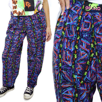 Vintage 80s Gecko Hawaii Surfer Parachute Commando Pop Art Graffiti Pants Sz M