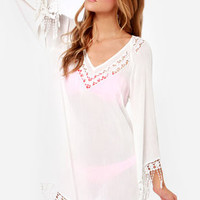 Life's a Beach Ivory Crocheted Cover-Up