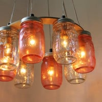 Pink Party Mason Jar Chandelier - Upcycled Hanging Mason Jar Lighting Fixture Direct Hardwire - BootsNGus Lamps Rustic Home Decor
