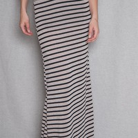 Oboe Striped Knit Slip-On Maxi Skirt With Wide Fold-Over Waistband - Taupe
