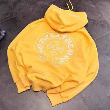 Chrome Hearts Popular Women Men Loose Print Hoodie Sweater Sweatshirt Top Yellow
